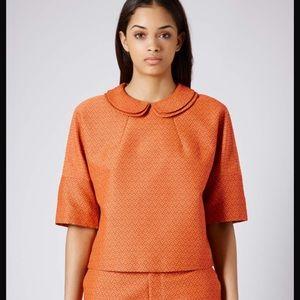 Topshop orange top with double collar